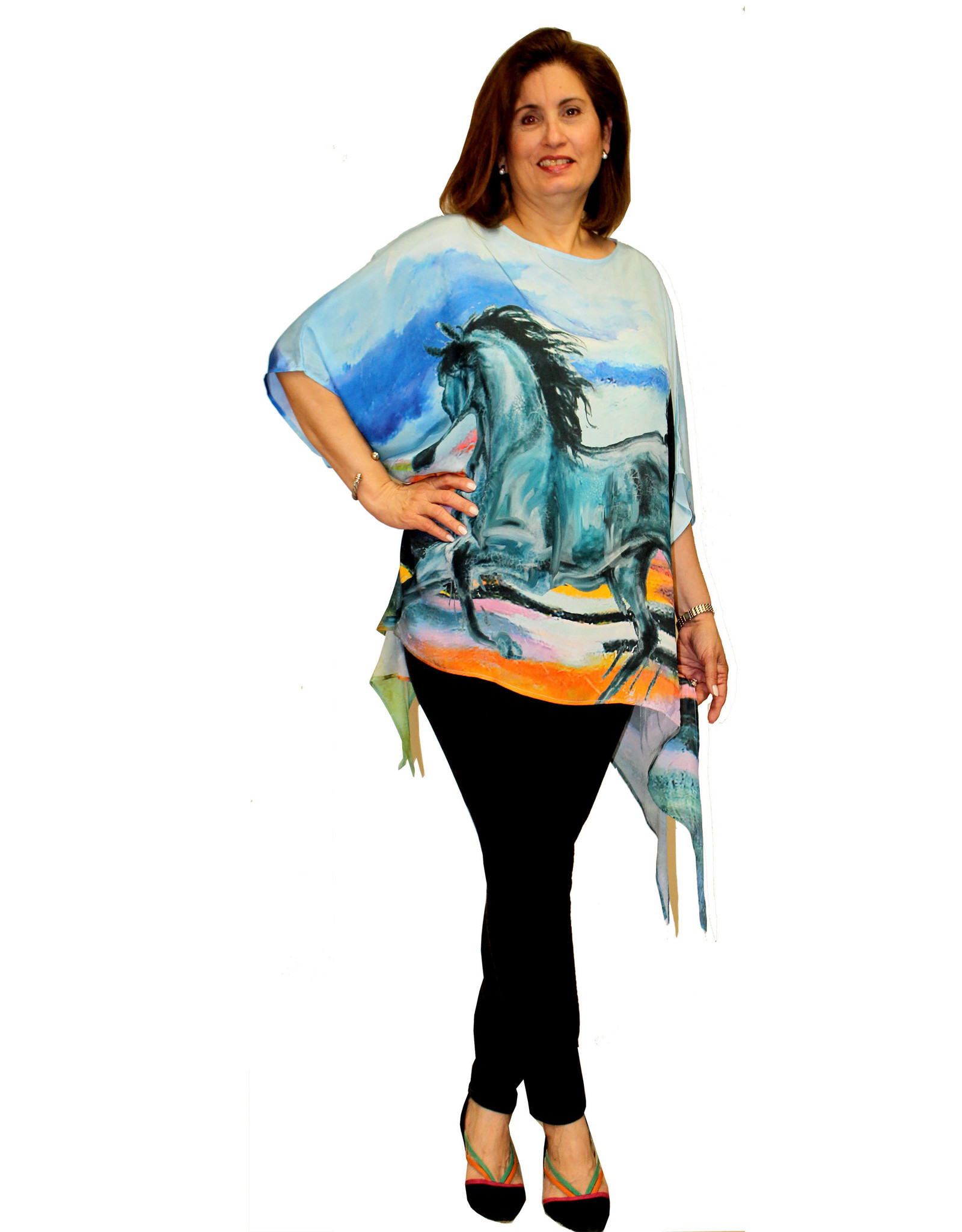 Dilemma Artist-Inspired (Degas) Polyester Poncho/Tunic,  One Size