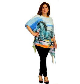 Dilemma Horse Painting Poncho/Tunic, One Size