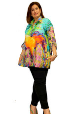 Dilemma Artist-Inspired (Husain) Cotton Voile Tab-Sleeve Shirt , One Size