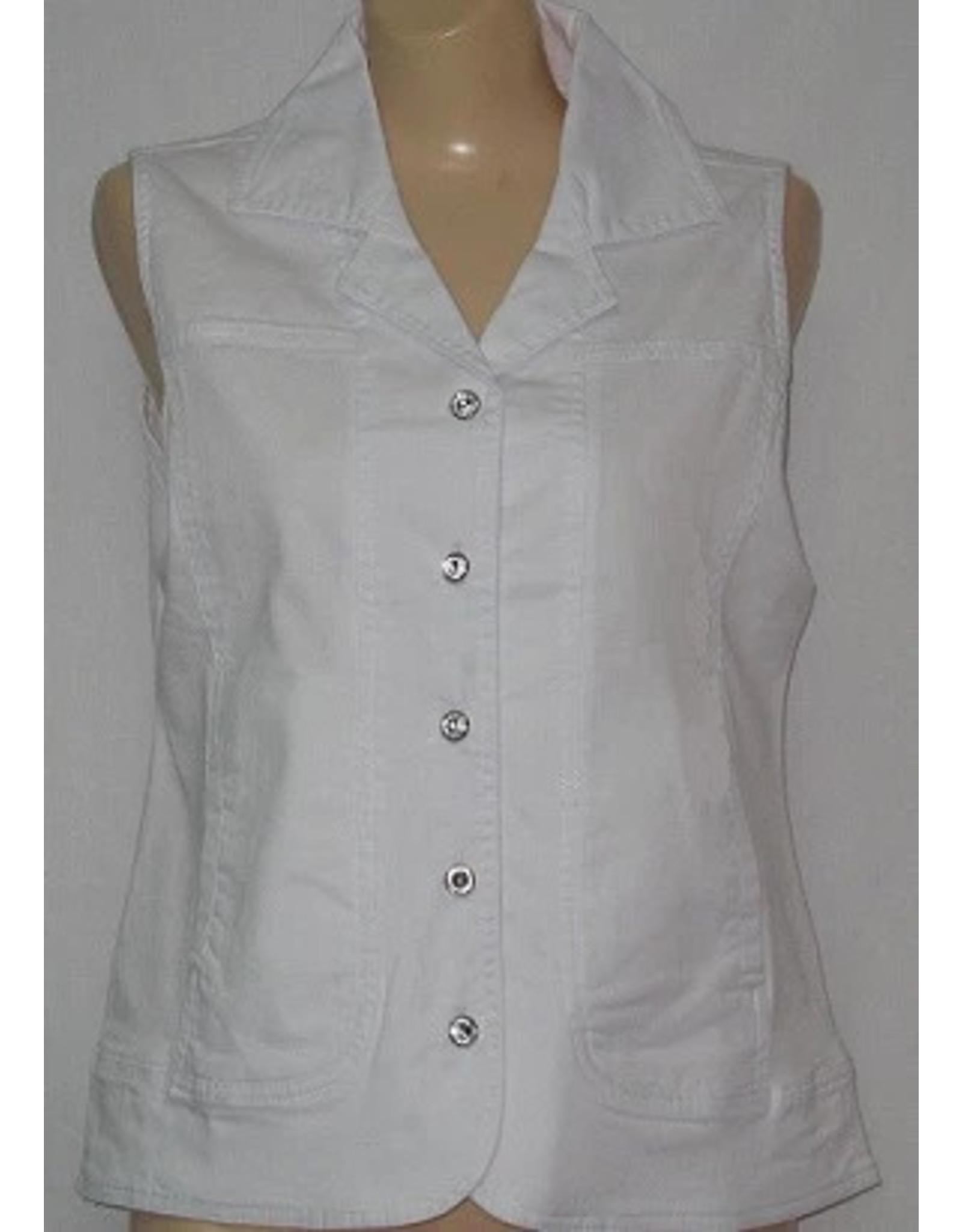 Marcel Stretch Denim Vest with Crystal Buttons