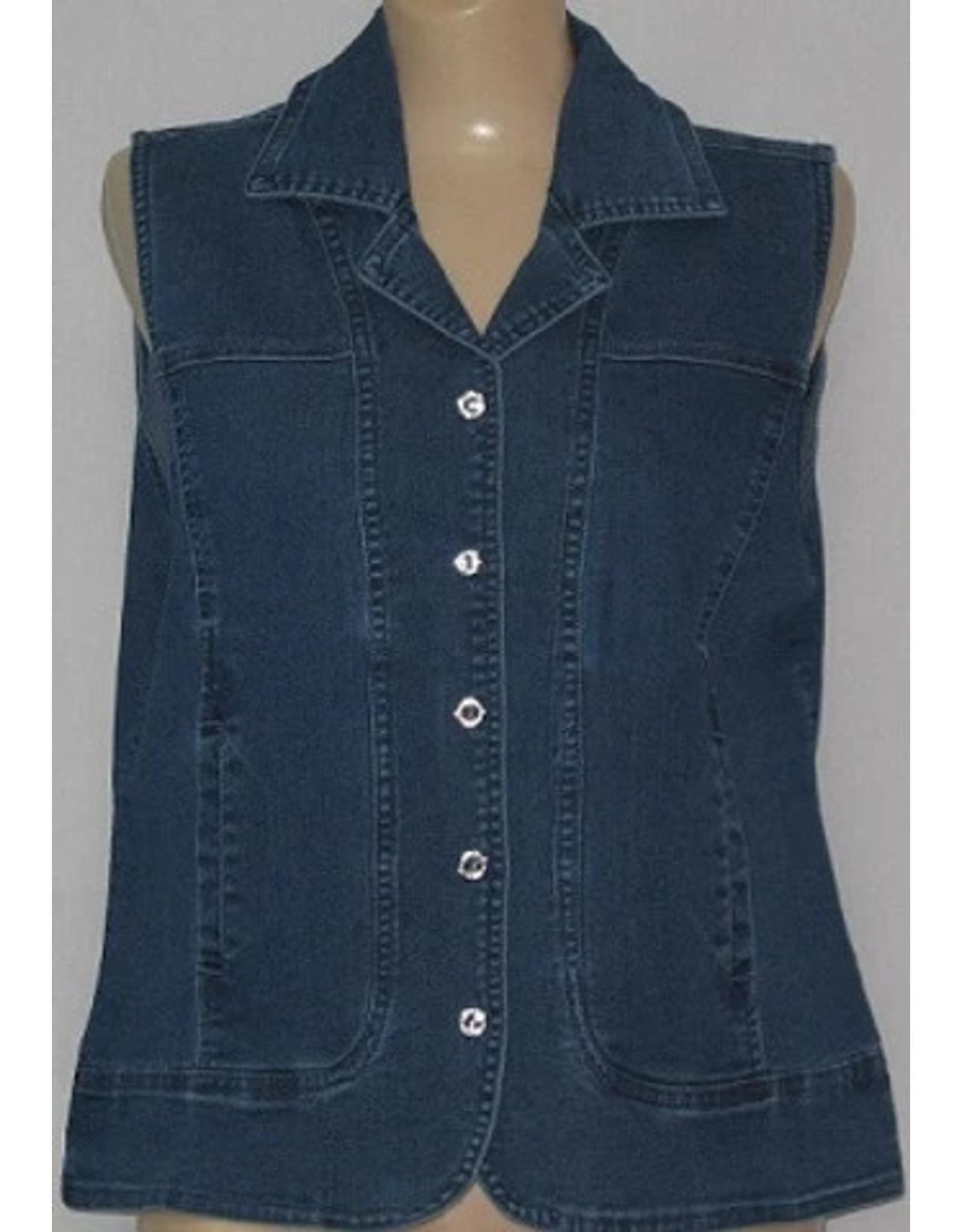 Marcel Stretch Denim Vest with Crystal Buttons