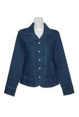 Marcel Stretch Denim Jacket with Crystal Buttons