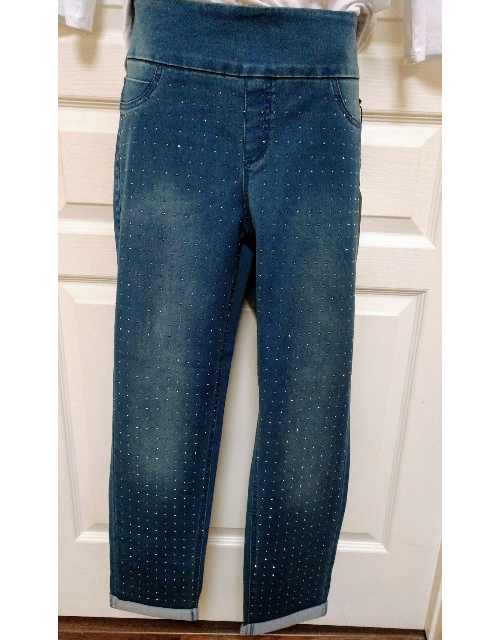 Lulu B All-Over Rhinestone Stretch Ankle Jeans