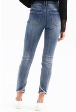 Charlie B Stretch Denim/Twill Jeans w/frayed hem