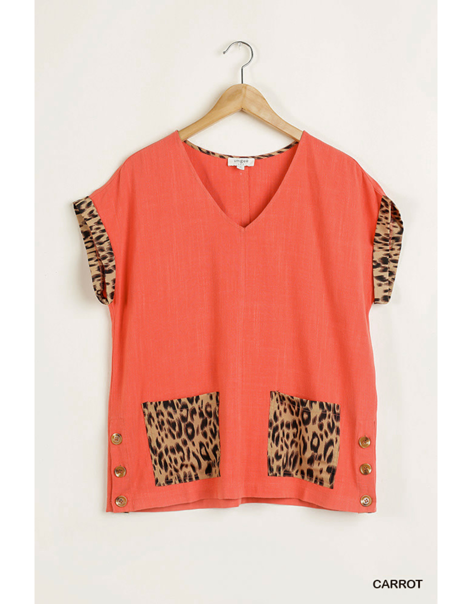 Umgee V-Neck Top w/Animal Print Trim