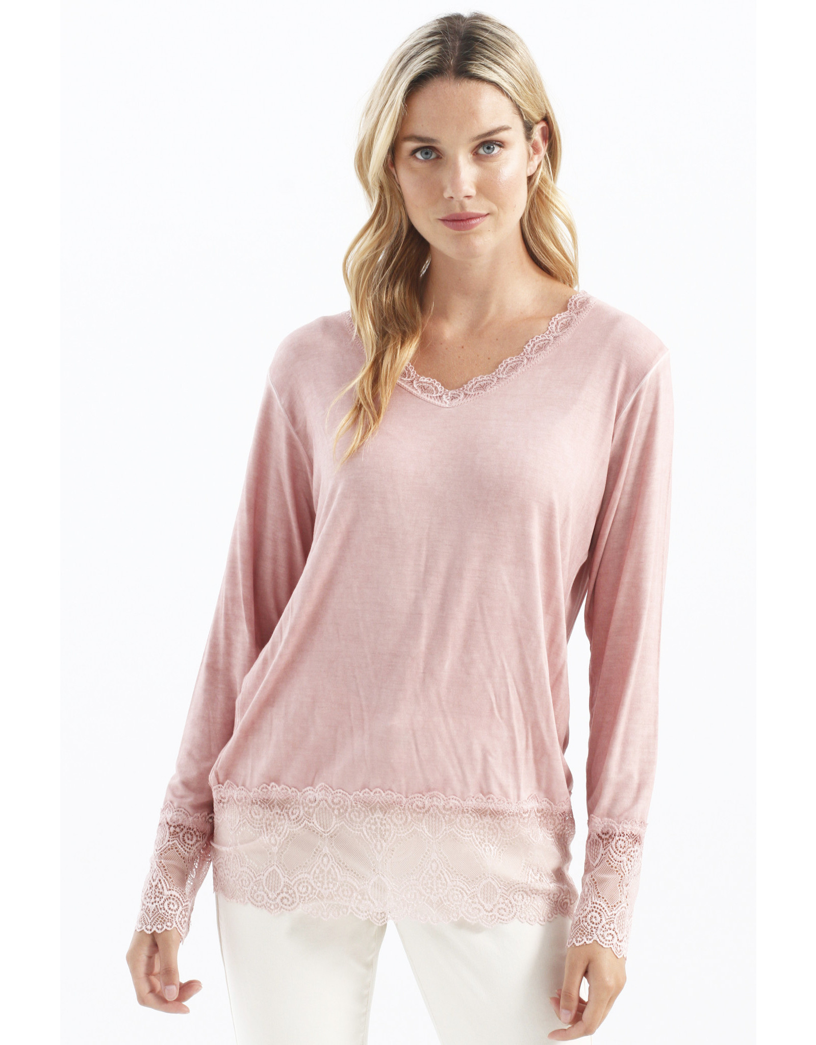 Charlie B Pullover Top with Lace Trim