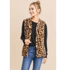 Cotton Bleu Animal Print Faux Fur Vest