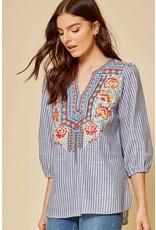 Savanna Jane Denim Stripe Embroidered Top