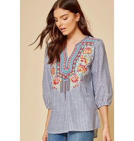 Savanna Jane Denim Stripe Embroidered Top