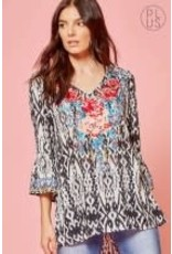 Savanna Jane Print top with embroidered bodice & bell sleeves
