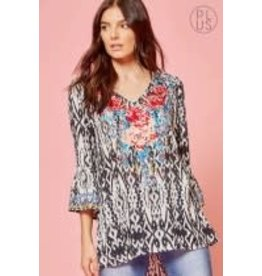 Savanna Jane Plus Size Print top with embroidered bodice & bell sleeves