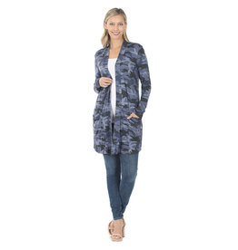 Zenana Navy Camo Duster Cardi Long Sleeve