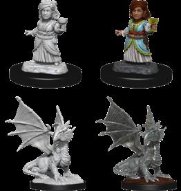 Silver Dragon Wyrmling & Female Halfling (90153)