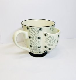 Creative Co-Op Black Cup with Tea Bag Holder