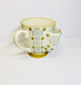 Creative Co-Op Yellow Cup with Tea Bag Holder