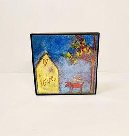 Tonya Gray Yellow House with Pets art plaque