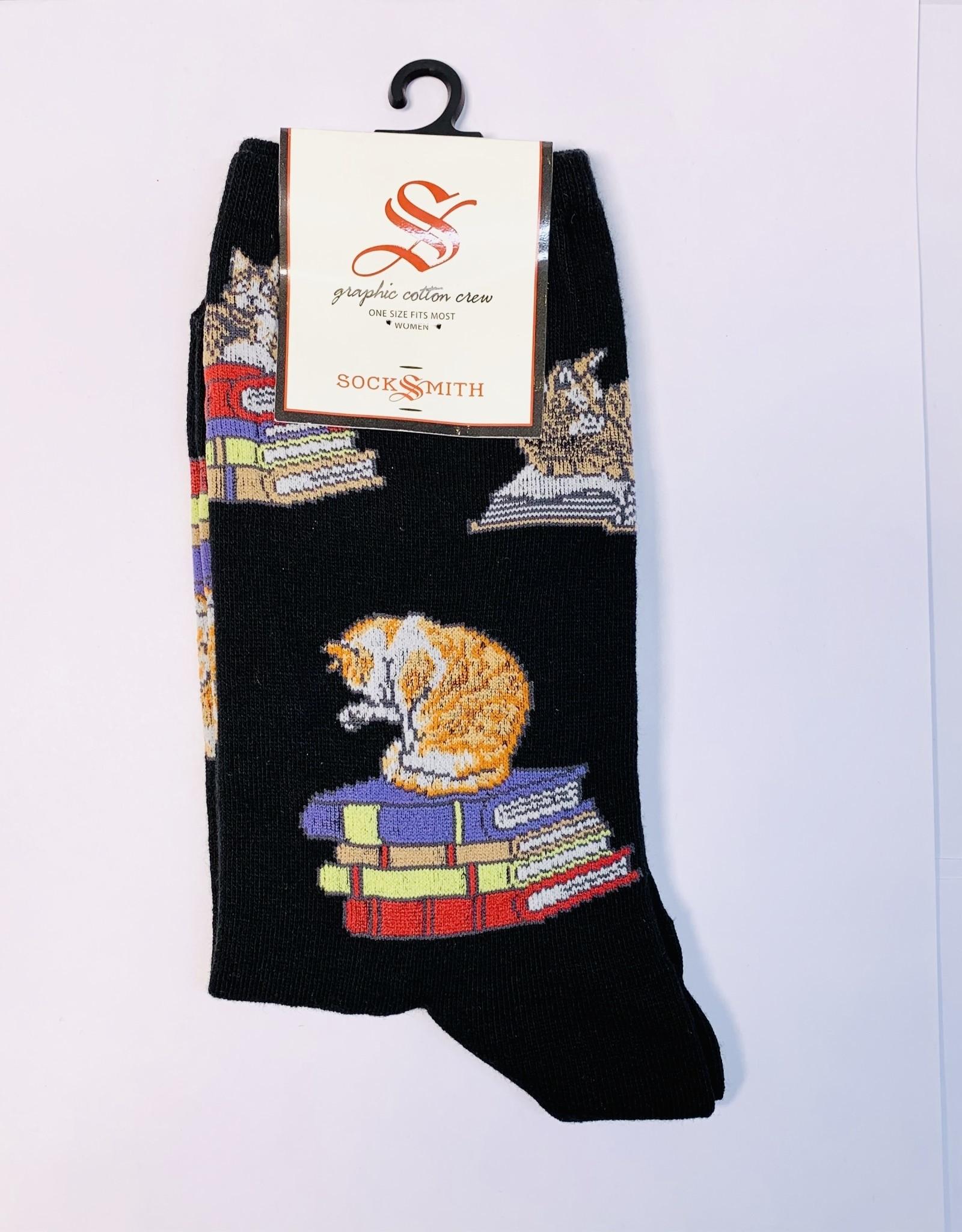 Socksmith W-cats on books
