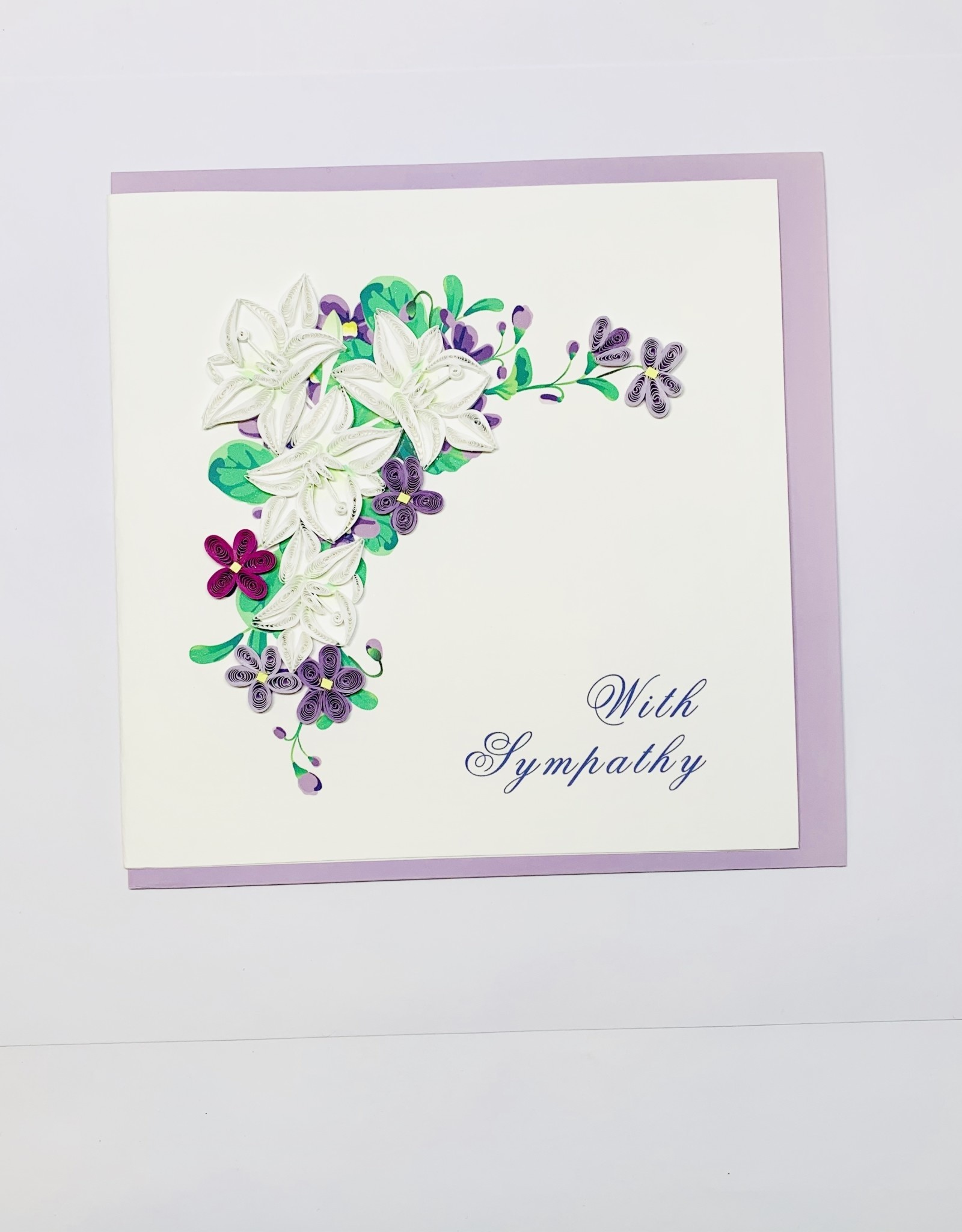 Quilling Sympathy White & Purple Flowers