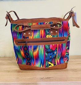 Altiplano Leather Geometric Huipile Bag - Bright Multicolor