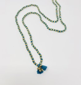Creative Co-Op Bristle Tassel Necklace - Turquoise