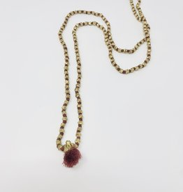 Creative Co-Op Bristle Tassel Necklace - Magenta