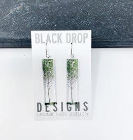 Black Drop Designs Tall Green Tree Earrings