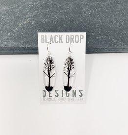 Black Drop Designs Tall Oval Tree Earrings