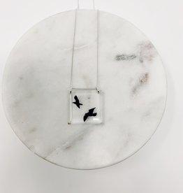 Black Drop Designs Square Birds Necklace