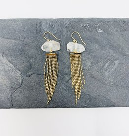 Dynamo Jewelry Rough quartz and gold earrings