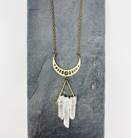Dynamo Jewelry Clear quartz moon necklace