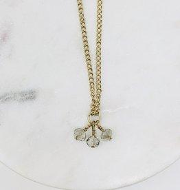 HB Jewelry HB Sm Triple bead necklace -  Clear Quartz