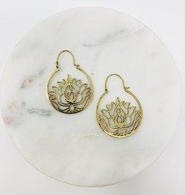 Saraswati Lotus Brass Hoop