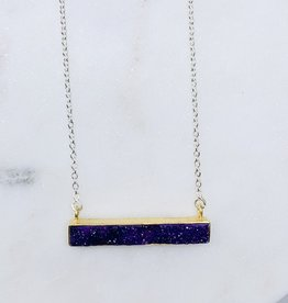Saraswati Purple  Druzy Bar Necklace