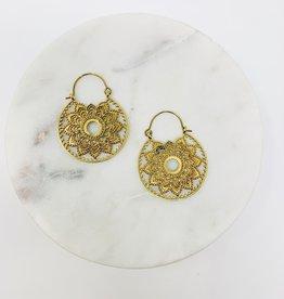 Saraswati Sienna LG brass Flower Hoop