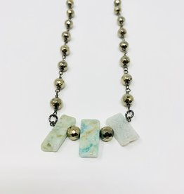 Lula 'n' Lee Pyrite/Amazonite necklace