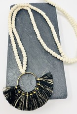 Creative Co-Op Wood/Metal Toluca Black Circle Necklace