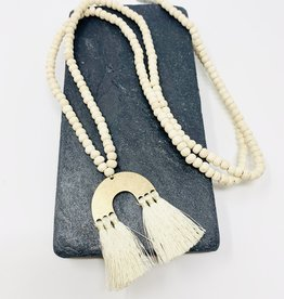 Creative Co-Op Wood/Metal Toluca Ivory Arch Necklace