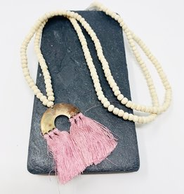 Creative Co-Op Wood/Metal Toluca Pink Arch Necklace