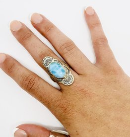 Tiger Mountain Larimar Etching ring Sterling SZ 8