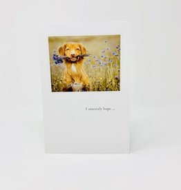 Cardthartic Dog holding Flowers