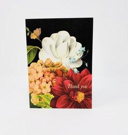 P. Flynn Design TY Flowers on Black