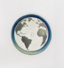 Raku Pottery Works Planet Earth Incense Burner