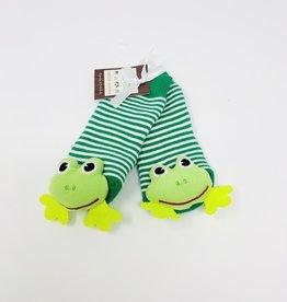 Two's Company Frog Footsie Rattle Socks