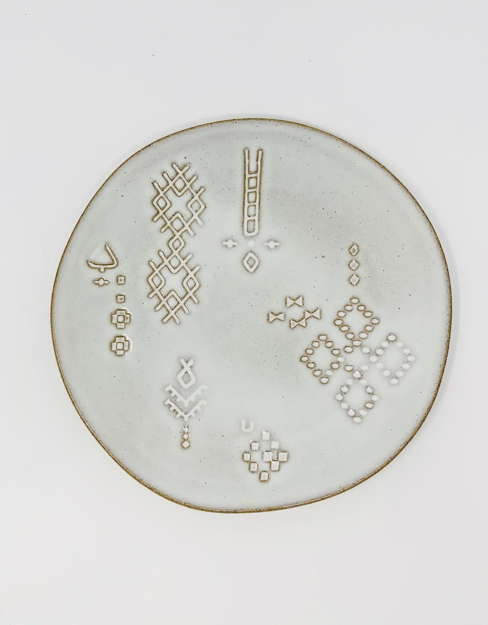 Fringe Marks white Stoneware dessert plate