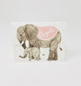 Oana Befort Fine Art and Stationary Congrats (Rose) - Elephants