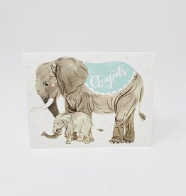 Oana Befort Fine Art and Stationary Congrats (baby Blue)- Elephants