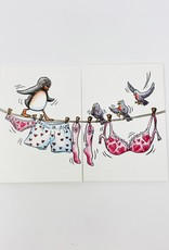French Artist Club Birds on clothes line