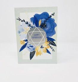 Design Design Hanukkah Blue/Orange Flowers