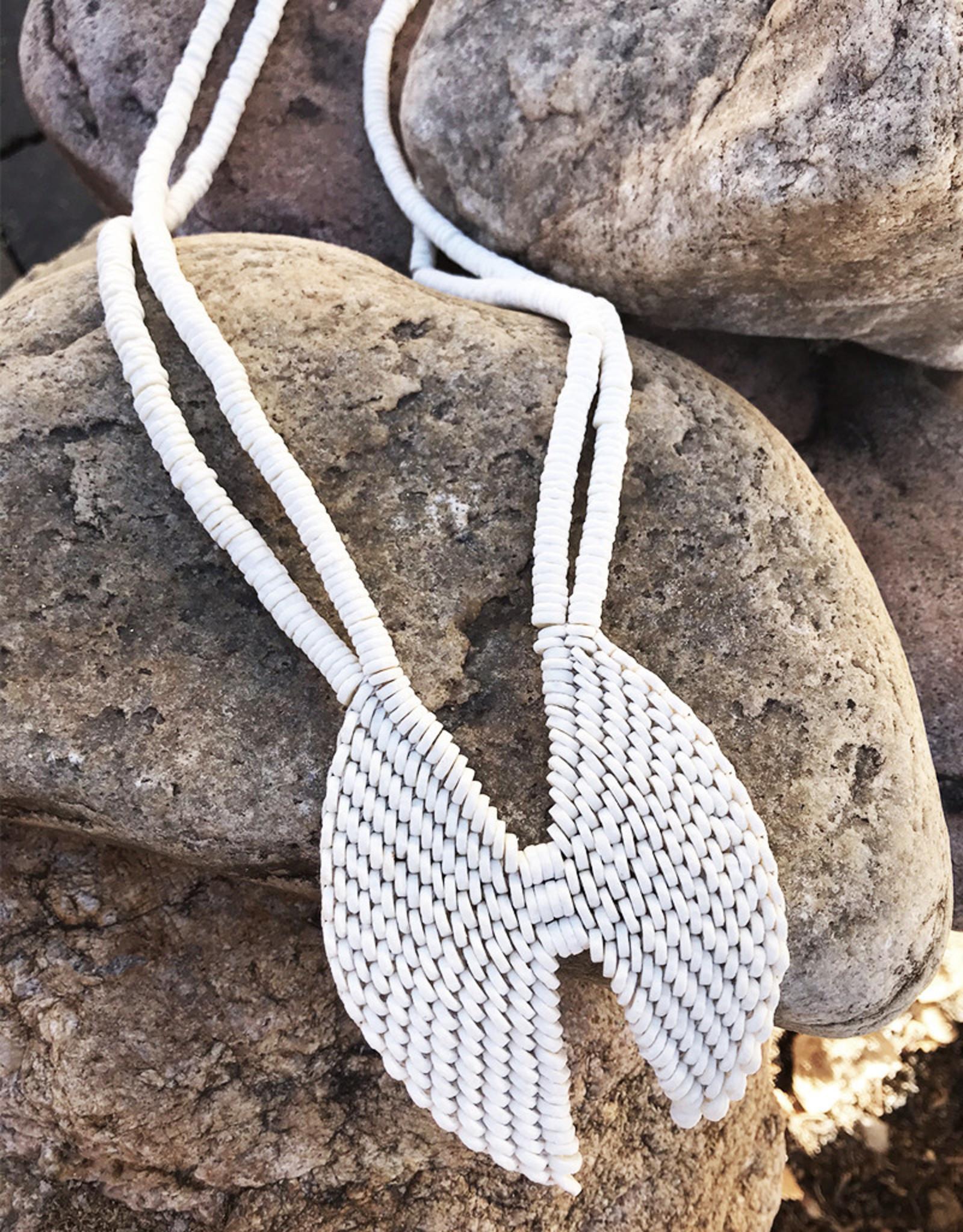 Omba Ostrich Eggshell Mopane Leaf Necklace