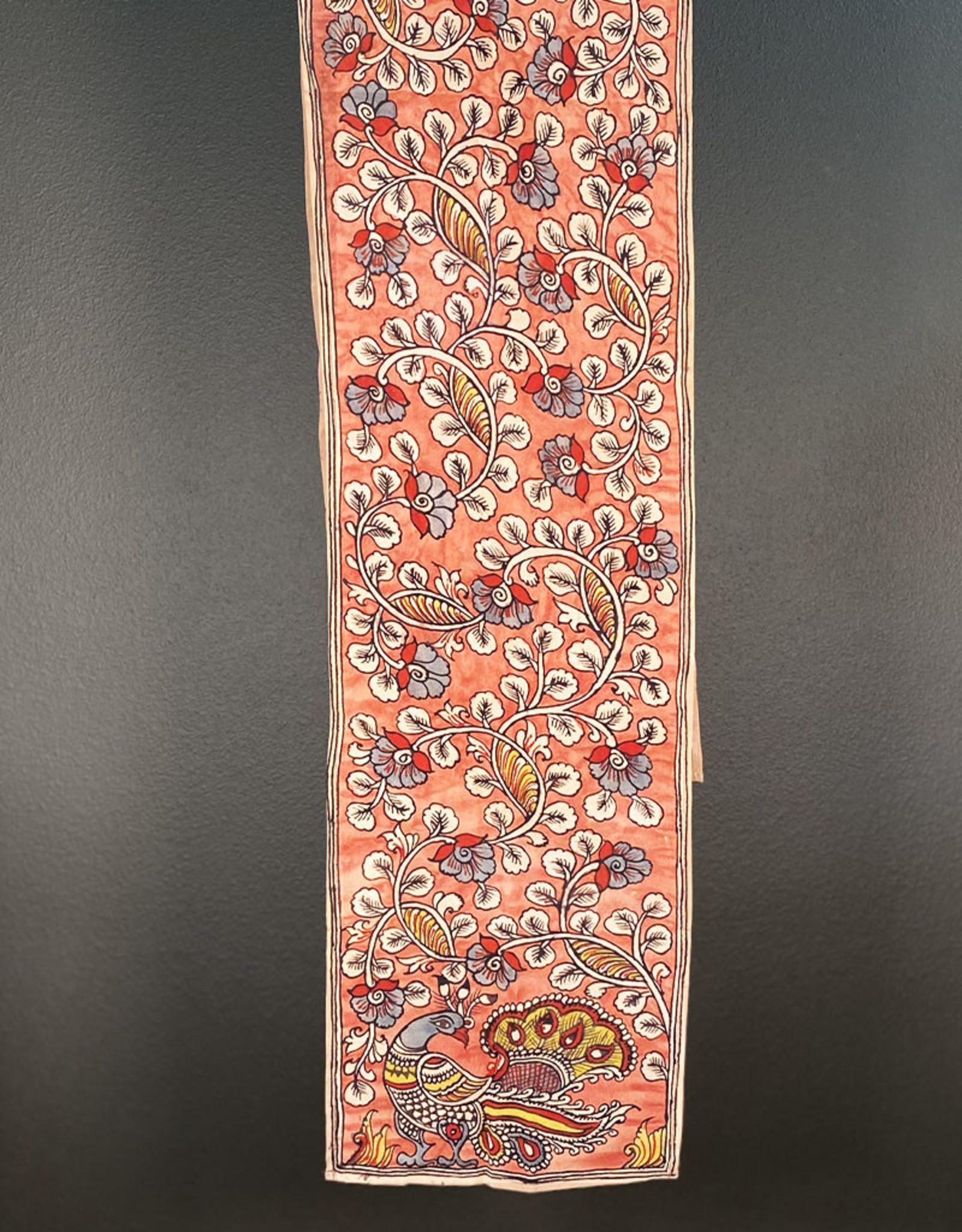 Dwaraka Hand Painted Silk Chiffon Scarf Rose